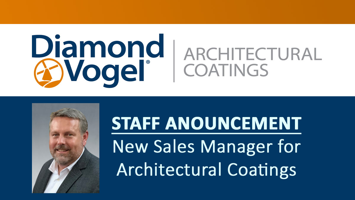 Diamond Vogel Announces New Sales Manager for Architectural Coatings