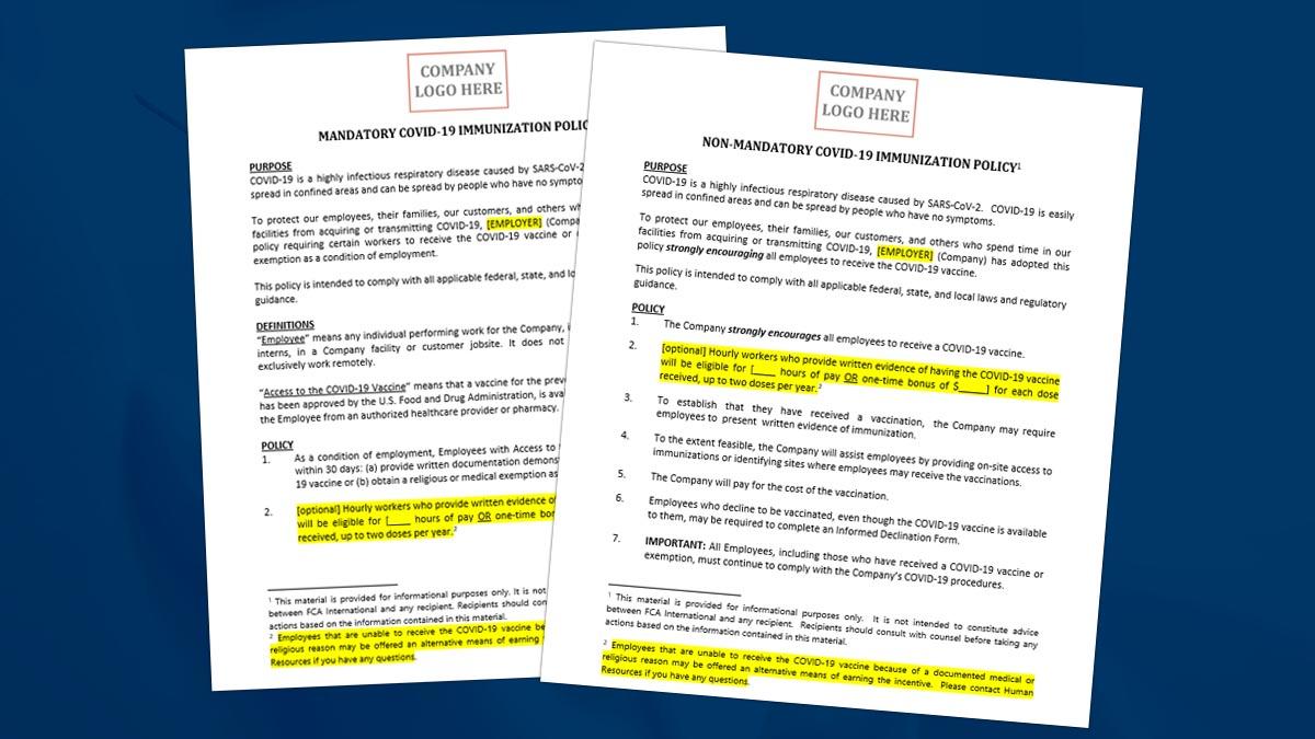 COVID-19 Vaccine Policy Templates